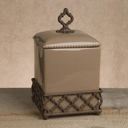 Ogee-G Medium Taupe Canister - GG Collection*