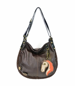 COMING SOON! - Horse Charming Hobo Crossbody with Key Fob - Dark Brown