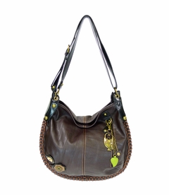 COMING SOON! - Owl Charming Hobo Crossbody with Keychain - Dark Brown