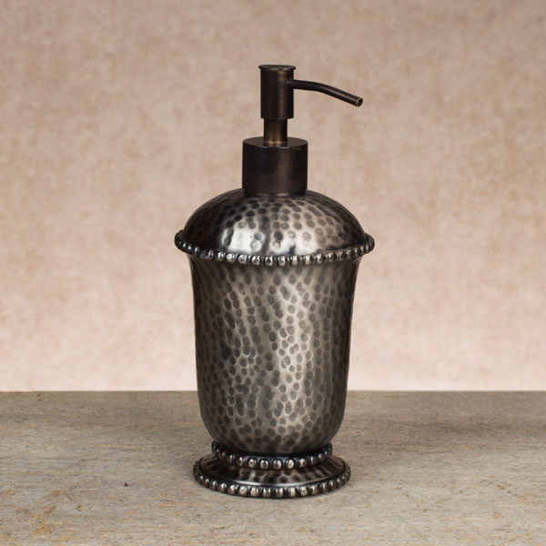 Antique Silver Hammered Soap Dispenser Gg Collection