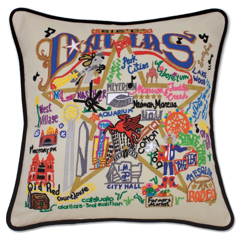 dallas hand embroidered pillow by catstudio