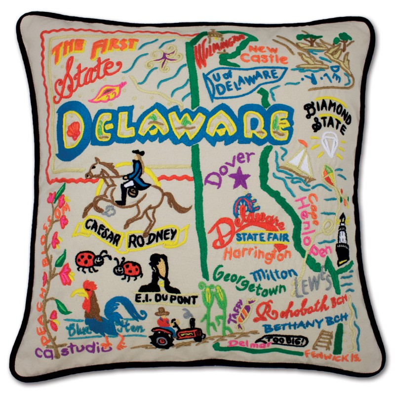 delaware hand embroidered pillow by catstudio