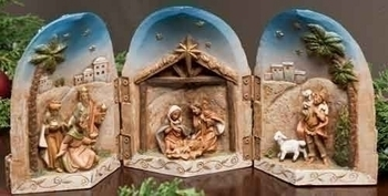 "DISCONTINUED 5"" Fontanini Nativity Scene Triptych Display"