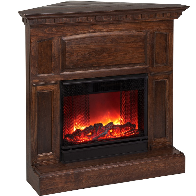 heritage corner electric mahogany fireplace by real flame