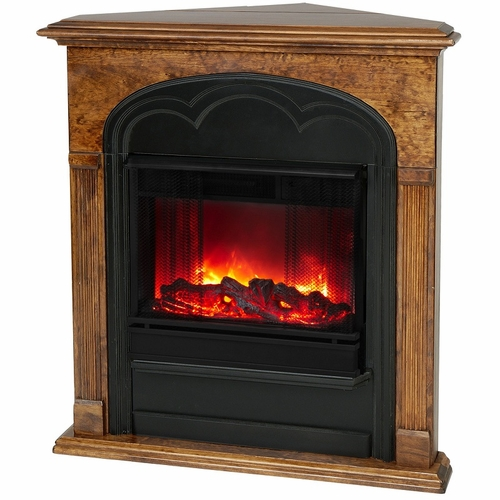 Rachel Corner Electric Mahogany Fireplace by Real Flame