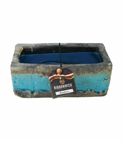 Greenhouse RibbonWick Medium Rectangle Teal Stone Candle