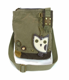 Hoohoo Owl Patch Crossbody Bag - Dark Olive