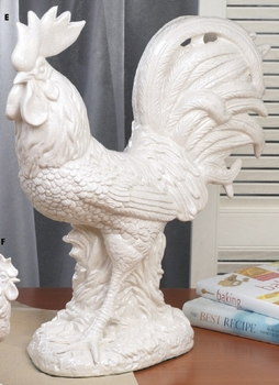 DISCONTINUED Large Crackle Country Ceramic Rooster