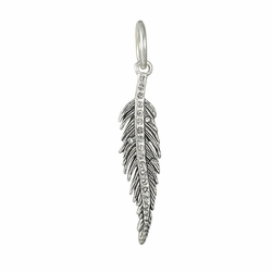 Light As A Feather Pendant (White Bronze/Sterling/Swarovski) by Waxing Poetic