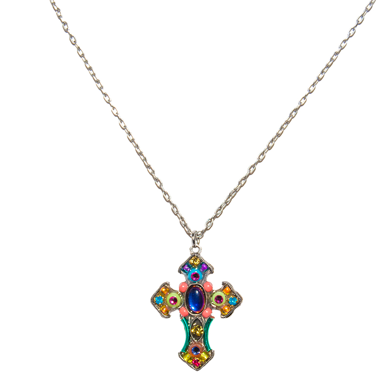 multi color mosaic cross necklace 8257 firefly jewelry