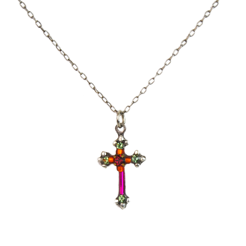 fuchsia dainty color cross necklace 8496 firefly jewelry