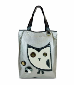 Hoohoo Owl Everyday Tote - Leather (Silver)