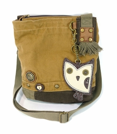 Hoohoo Owl Patch Crossbody Bag (Brown)