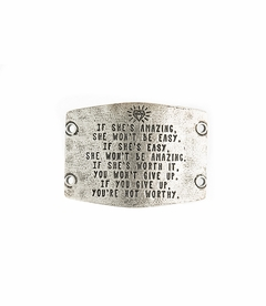 NEW! - If She's Amazing She Won't Be Easy - Large Silver Sentiment - Lenny & Eva