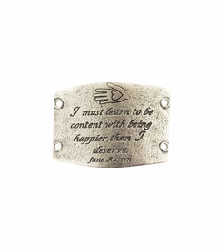 NEW! - Learn To Be Content - Large Silver Sentiment - Lenny & Eva