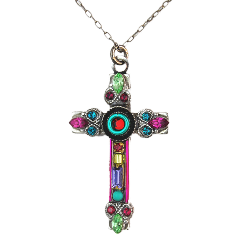 multi color delicate filigree cross necklace 8566