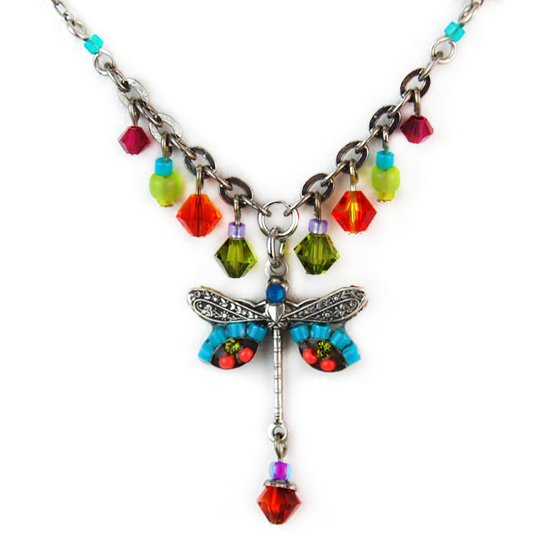 multi color dragonfly simple small necklace with dangles