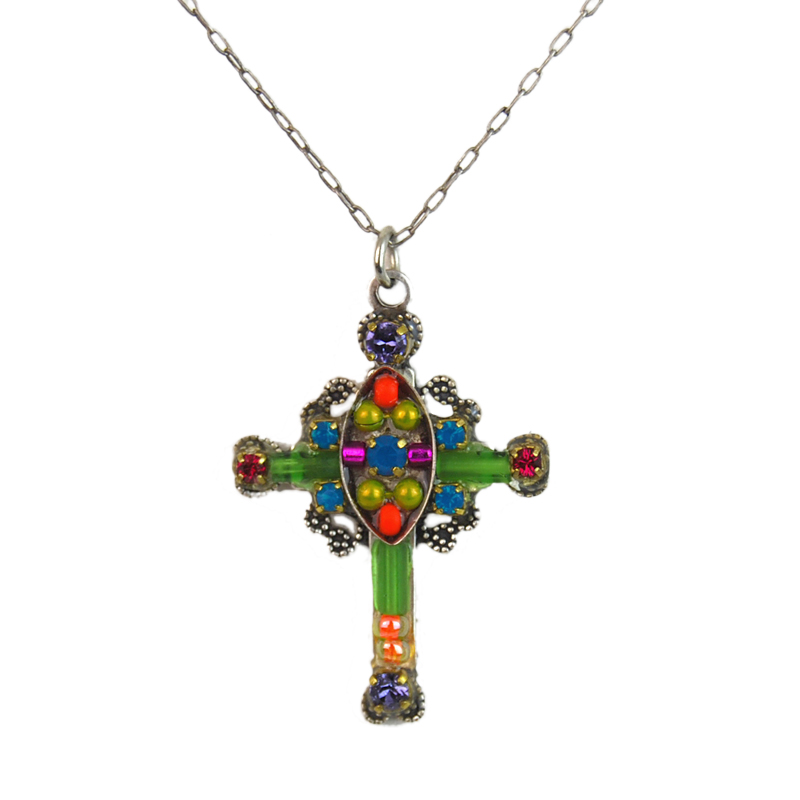 multi color mosaic cross necklace 8131 firefly jewelry