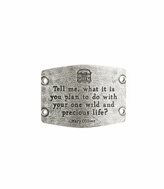 NEW! - One Wild and Precious Life - Large Silver Sentiment - Lenny & Eva