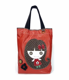 Smiley Girl Everyday Tote - Leather (Orange)