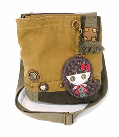 Smiley Girl Patch Crossbody Bag (Brown)