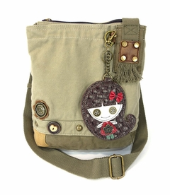 Smiley Girl Patch Crossbody Bag - Sand