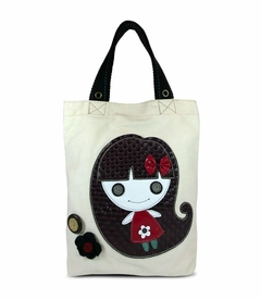 Smiley Girl Simple Tote (White)