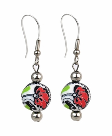 CLOSEOUT - Splash of Black & White Chunky Earrings - Viva Beads