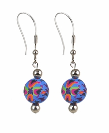 CLOSEOUT - Splash of Blue Chunky Earrings - Viva Beads