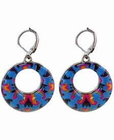 NEW! - Splash of Blue Circle Earrings - Viva Beads