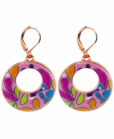 CLOSEOUT - Splash of Pink Circle Earrings - Viva Beads