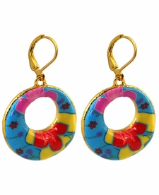 CLOSEOUT - Splash of Tropical Circle Earrings - Viva Beads