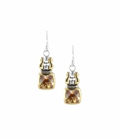 NEW! - Square Anvil Fish Hook Earrings - Champagne - John Medeiros