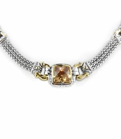 NEW! - Square Anvil Triple Strand Necklace - Champagne - John Medeiros