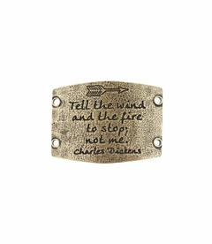 NEW! - Tell The Wind And The Fire - Large Brass Sentiment - Lenny & Eva