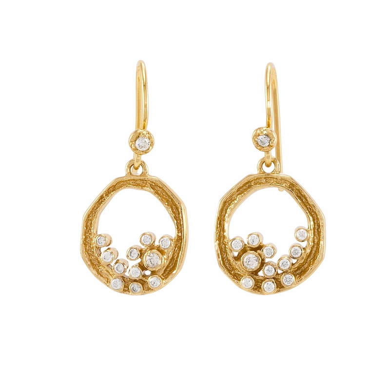 baby custer earrings gold white melinda