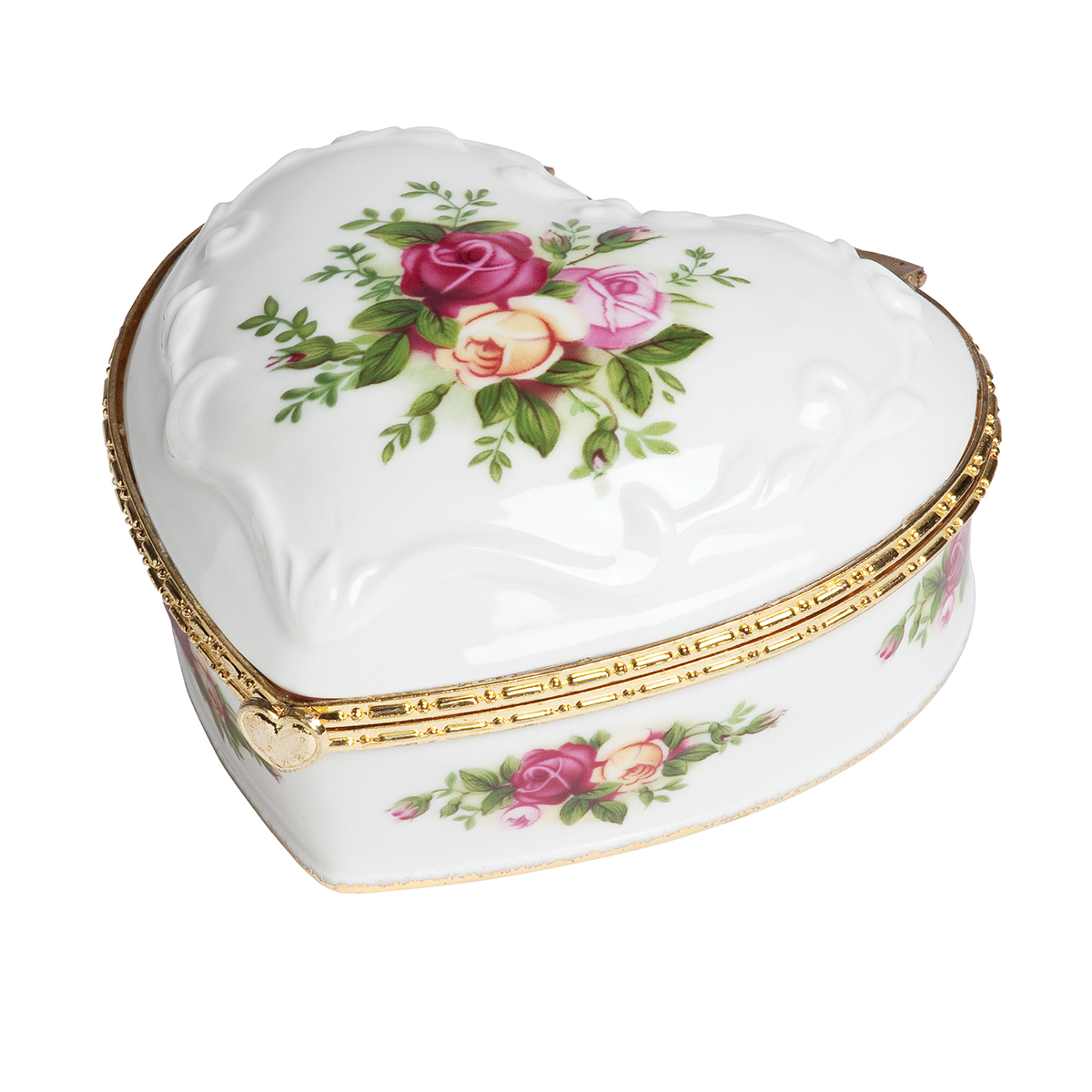 Old Country Roses Heart Jewelry Music Box By Royal Albert