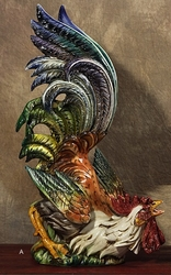"Rooster Looking Up 28""H x19""W by Intrada Italy"