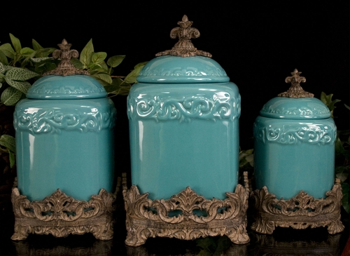 turquoise large ceramic canister set
