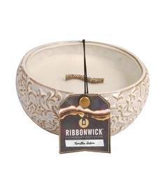 TEMPORARILY OUT OF STOCK - Vanilla Satin Medium Round RibbonWick Candle