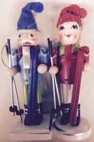 "Skier Elf Nutcracker Ornaments 5"" Girl & Boy Set of 2"