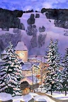 Vail Mountain Moonlight Watercolor by Barbara Froula