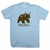 Bear Deer Beer T Shirt Funny Hunting Fishing Drinking Tees