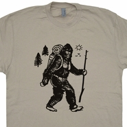 Bigfoot Hiking T Shirt Sasquatch Camping Shirt Cryptozoology Funny Retro Tee