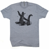 Bigfoot Riding On Nessie T Shirts Loch Ness Monster Believe Nessy Tees