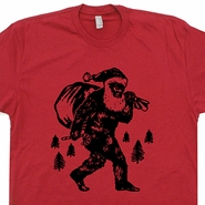 Bigfoot Santa Clause T Shirts Christmas Sasquatch Tee Shirts Mens Womens Kids Tee