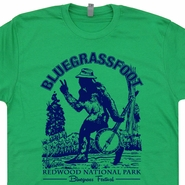 Bluegrassfoot Bluegrass T Shirts Bigfoot Vintage Banjo Folk Rock Tees