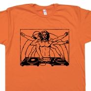 DJ T Shirt Da Vinci Vitruvian Man Am Beastie Boys Turntables Record Player Tee
