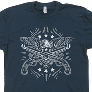 Eagle With Guns T Shirt Cool Liberty USA Military Army Navy Marines Tee Shirts