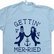 Getting married T Shirt Mermaid Merman T Shirt Funny Wedding Gift Tee Shirts